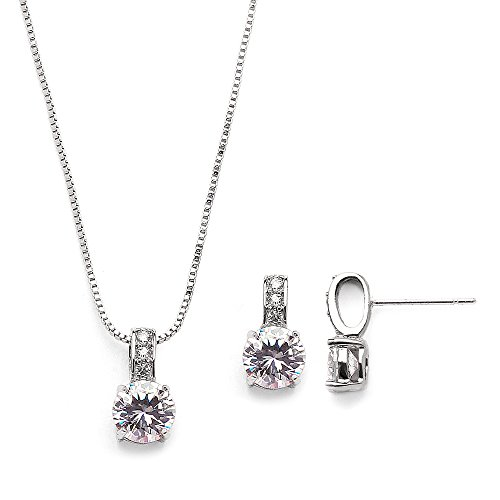Mariell Delicate Round-Cut Cubic Zirconia Necklace Earrings Set for Brides, Bridesmaids or Everyday Wear by Mariell