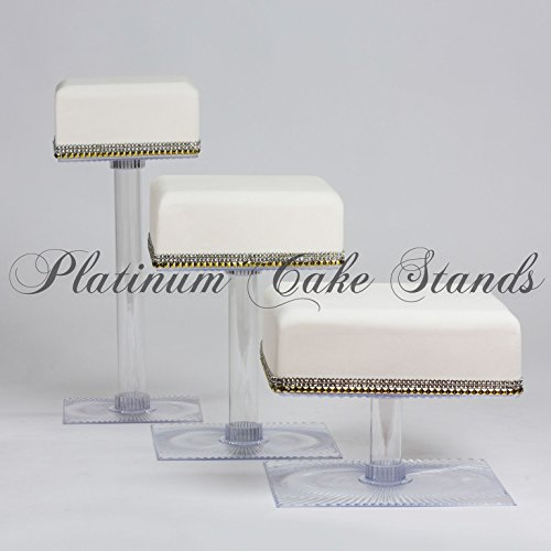 Tier 3 Cascade (platinumcakeware 3 Tier Square Wedding Cake and Cupcake Stand (SQ309))