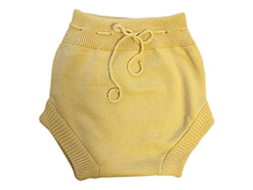 100% Merino Wool Adult Soaker Cloth Diaper Cover Shorts Knit Knitted Handmade (Beige, Medium)