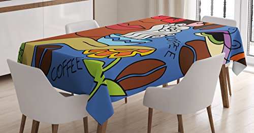 Coffee Decor Tablecloth by Ambesonne, Abstract Cartoon Illustration with Face of A Lady, Flowers And Coffee Floral Fun Design, Dining Room Kitchen Rectangular Table Cover, 60 X 84 Inches (9081 Satin)