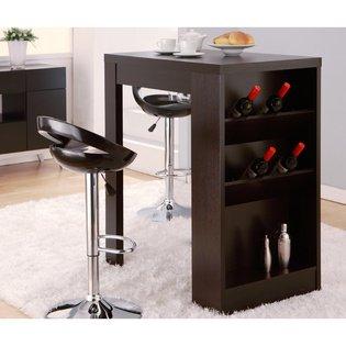 Miura Modern Cappuccino Multi-storage Bar Table,