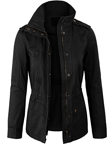 (KOGMO Womens Zip Up Military Anorak Safari Jacket Coat -M-Black)
