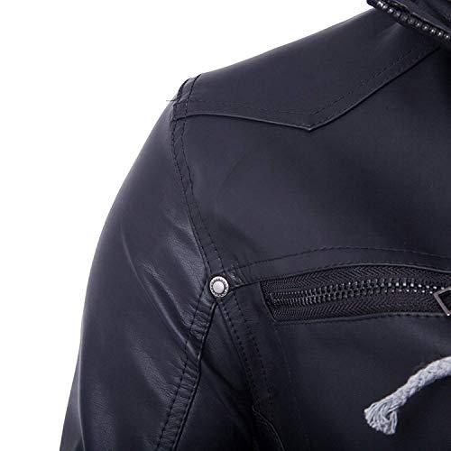 Cappotto Con Uomo Motociclista Cerniera Lunga Moto Pu Abbigliamento Coulisse Giacca Manica Da Scuro Outwear Pelle Blu Cappuccio In 06xFwq