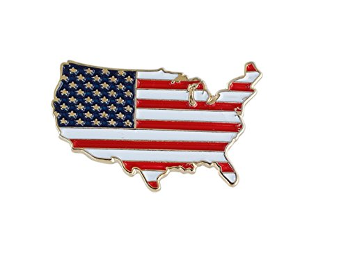 State Design Lapel Pin - Forge United States Outline American Flag Patriotic Lapel Pin (Value Pack) (5 Pack)