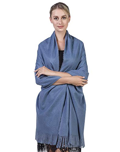 Niaiwei Cashmere Scarf Blanket Large Soft Pashmina Shawl Wrap For Men and Women (Jacquard Jean Blue) by Niaiwei