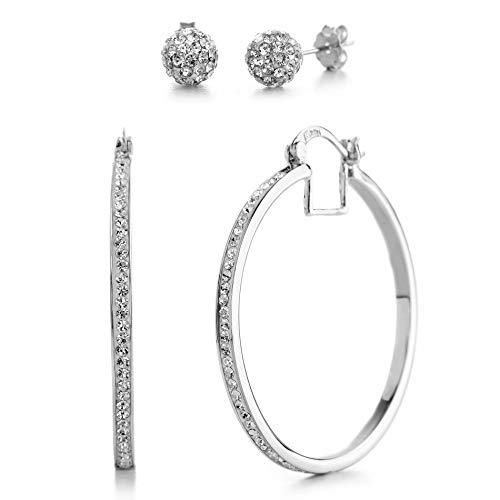 Devin Rose 40mm Hoop and Ball Stud Earrings for Women made With Swarovski Crystals in Rhodium Plated Brass (White Set)