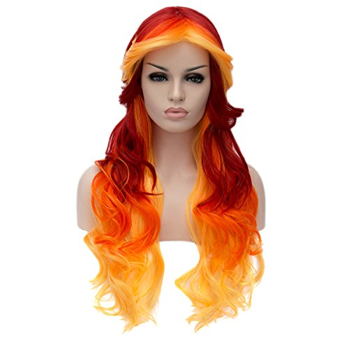 Topwigy Women's Cosplay Wig Long Ombre Curly Body Wave Multicolor Heat Resistant Hair Wigs Costume Party Wig (Red Orange (Places That Sell Halloween Costumes)