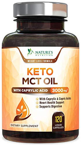 Pure Keto MCT Coconut Oil Capsules Max Potency 3000mg - Easy to Digest Ketosis Diet Supplement Pills, Highly Ketogenic Medium Chain Triglycerides with Caprylic (C8) & Capric Acid (C10) - 120 Softgels