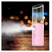 Women Warm Mist Humidifier Atomizer Sprayer Moisturizing Face SPA (Pink)