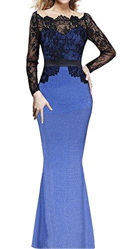 U8Vision Mujer Manga Larga Maxi Vestido de encaje Fishtail Celebrity Vestido Noche Vestido De Boda (tallas S
