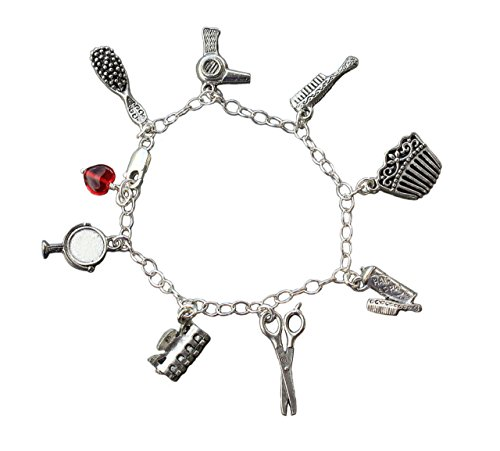 ir Stylist Pewter and Sterling Silver Charm Bracelet- Comb, Brush, Dryer, Spray, Scissors- 8 Inches (Large) ()