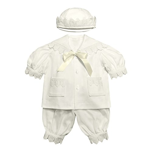 Victorian Organics Baby Boy Sailor Set 4 Piece Organic Cotton Knit and Eyelet Lace Trim Jacket Hat Bodysuit and Pantaloons (NB 0-3 months) by Victorian Organics