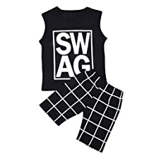Little Boys Clothing Set, Cute Kid's Long Sleeve Letter Print T-shirt and Pants Suit