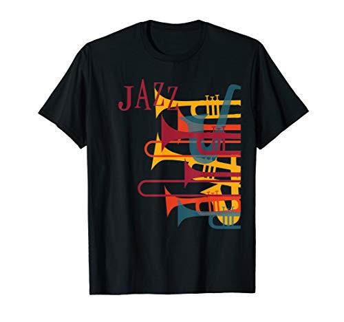 Jazz Music Player T-Shirt Trumpet Retro Vintage Shirt 70s - Jazz Retro Music