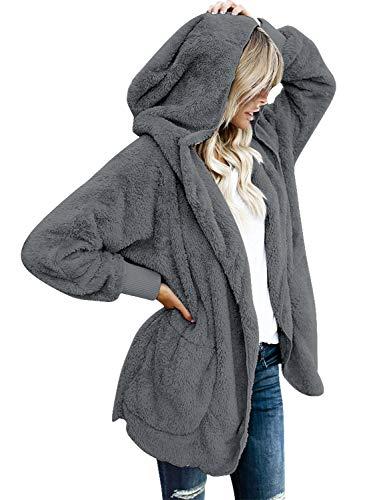 (LookbookStore Women's Oversized Open Front Hooded Draped Pocket Cardigan Coat Dark Grey Size M (Fit US 8 - US 10))
