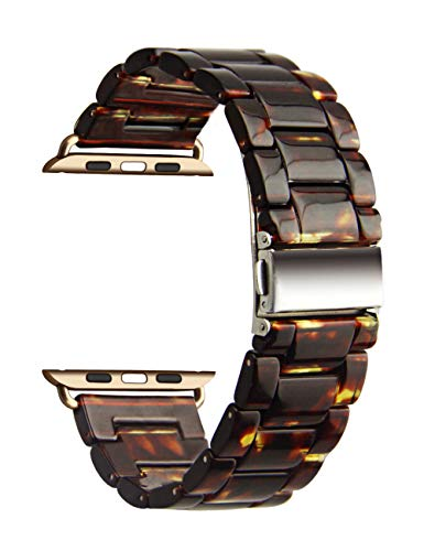 YFWOOD Bands for Apple Watch 42mm 44mm, Women Men Dark Resin Sport Strap with Stainless Steel Buckle Fashion Adjustable Watch Band Replacement for iWatch Series 4 3 2 1 (for Apple Watch Band 42mm 44mm