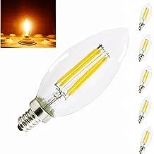 Bonlux 4 Watt LED C35 E12 Filament Candle Light Bulbs - 40 Watt Incandescent Replacement Bulb, E12 Screw Base LED Glass Cover Chandelier Crystal Light, Torpedo Shape Chandelier Bulbs (5, Warm White)