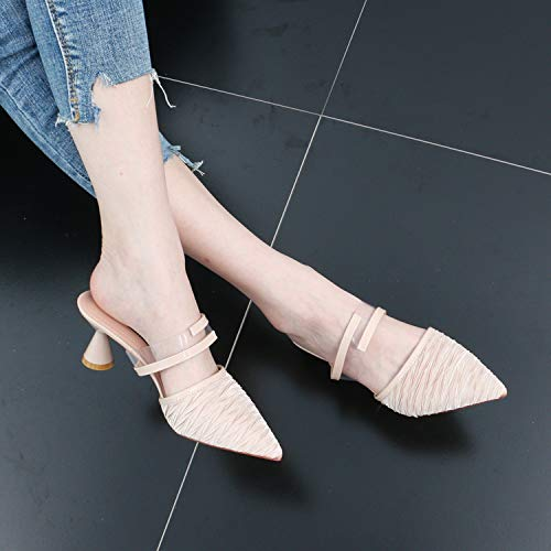 Baotou Belt color Word Wear Slippers High Heel Semi And Rough Summer SFSYDDY Joker 6Cm Slippers Cool Apricot Fashion pwqn7vgxT