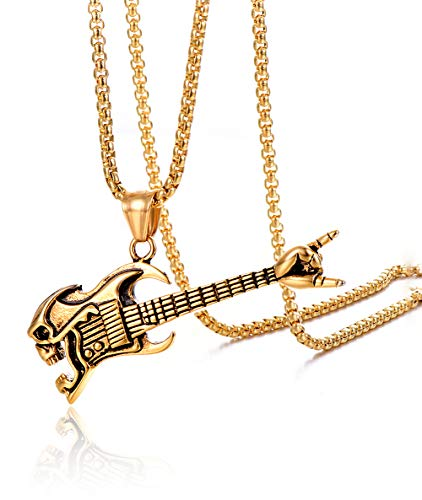 HUANIAN Men's Stainless Steel Magic Power Guitar Pendant Necklace, 24'' Link Chain,Gold