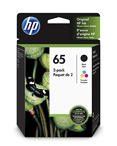 HP 65 Black & Tri-color Ink Cartridges, 2 Cartridges (N9K01AN, N9K02AN) for HP DeskJet 2624 2652 2655 3722 3752 3755 -