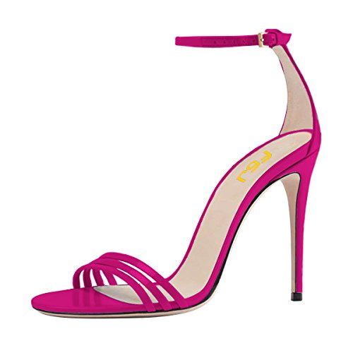 Shoes High DOrsay FSJ Strap Women Prom Toe Size Stiletto Fuchsia Sexy US Heel 4 Ankle Open 15 Strappy Sandals 4SwxOwq8tr