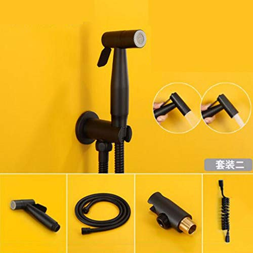 Valve d'angle pistolet de toilette set de lavage de toilette cul flusher buse de lavage pour femme bi-mode noir mat,B