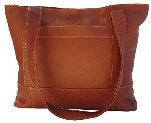 Piel Leather Top Zip Tote in Saddle - Zip Top Fashion Tote