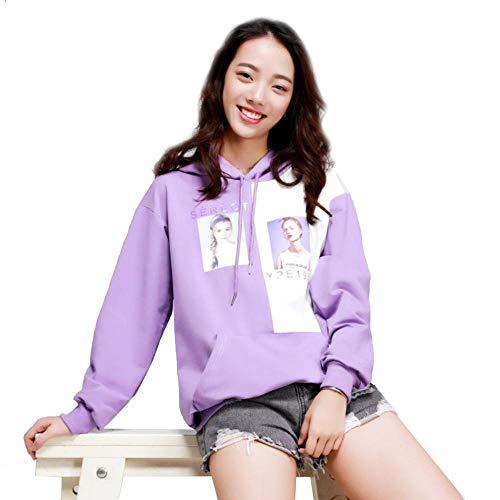 Femminile Donna Contrasto Cuciture Cappuccio Colori Taglia Camicia A Felpa Purple Lunga Con Pullover Unica Donna Lxiangp Nella Due Color maglione E6qYzxq0