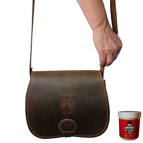 FREIHERR von MALTZAHN Damen Handtasche ORION aus braunem BIO Leder, Made in Germany, inkl. Lederpflege