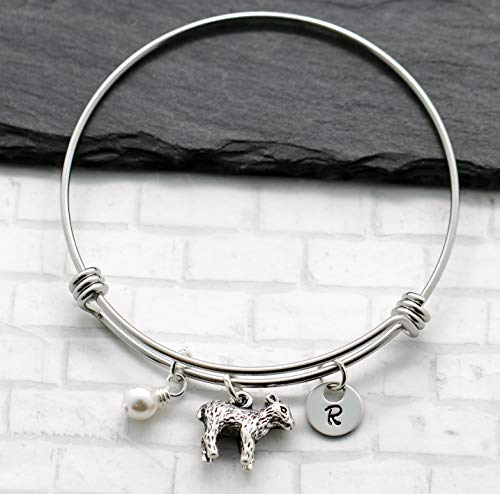 Lamb Bracelet Jewelry for Women - Lamb Themed Gifts for Kids & Girls - Personalized Birthstone & Initial - Fast Shipping