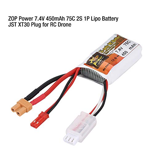 ZOP Power 7.4V 450mAh 75C 2S 1P Lipo Batería JST XT30 Plug Recargable Para RC Racing Drone Helicóptero Car Boat M (Color: Blanco)