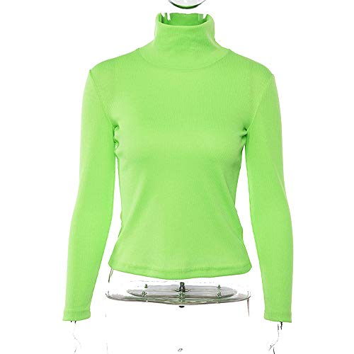 Endand Long Sleeve High Neck Bodycon Green Sold Tops 2019 Spring Women Streetwear Casual T-Shirt,Fluorescence Green,L