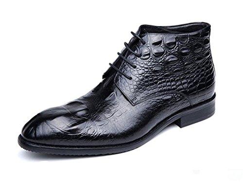 LI&HI Herren Klassische Retro Leder Krokodil Muster Zeigte Schnürschuhe Business Hochzeitsschuh Martin Stiefel (bordeaux schwarz Größe 37-44)