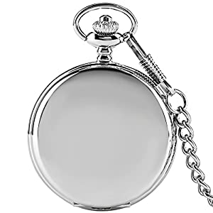 Silver Smooth Surface Quartz Pocket Watch Fob Chain Steampunk White Dial