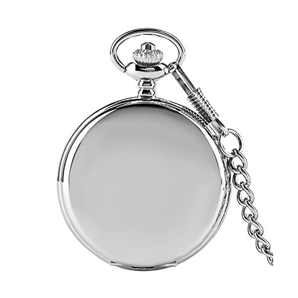Silver Smooth Surface Quartz Pocket Watch Fob Chain Steampunk White Dial 3