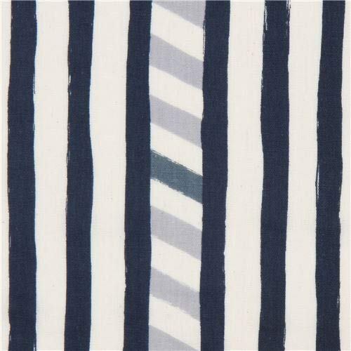 Echino Double Gauze Fabric with Navy Blue Light Cream Stripe Line (per 0.5 Yard Unit)