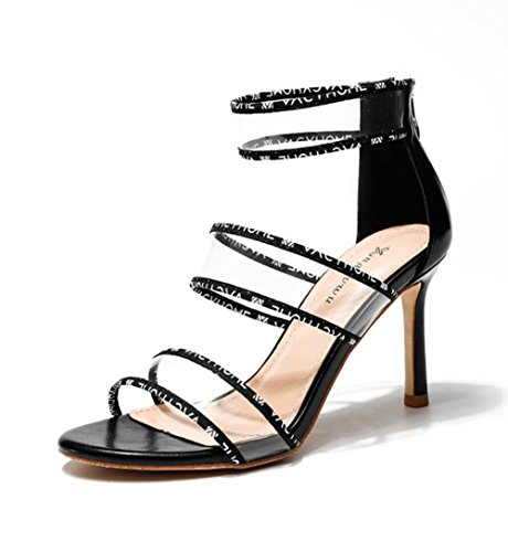 Talons Summer Stiletto Toe Chaussures Hauts Femmes Sandales Open LINYI Black Hollow p0OfOw