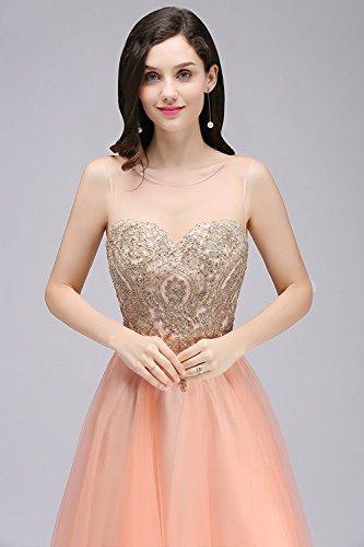 Mit Gold Mingxuerong Lang Ballkleider Spitze Strass Rosa Abendkleider Partykleider 5Btqw67