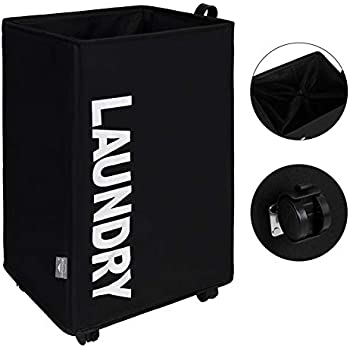 DOKEHOM X-Large Laundry Basket with Leather Handle and Wheel (3 Colors), Collapsible Fabric Laundry Hamper, Foldable Clothes Organizer, Folding Washing Bin (Black, L)