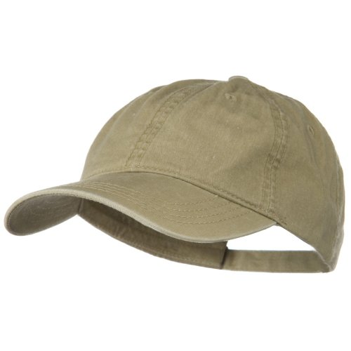 [Washed Solid Pigment Dyed Cotton Twill Brass Buckle Cap - Khaki] (Buckle Khaki)
