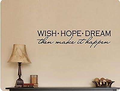 "46""x10"" Wish Hope Dream Then Make It Happen Inspiration Wall Decal Sticker Art Mural Home DŽcor Quote"