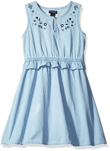 U.S. Polo Assn. Big Girls' Denim Tank Dress, Light Wash, 8 Denim Blue Jean Dress