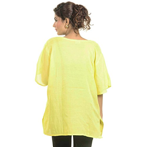 Botón indio Rayón Top Kurta Kurti abajo bordadas túnica desgaste de mujeres Amarillo