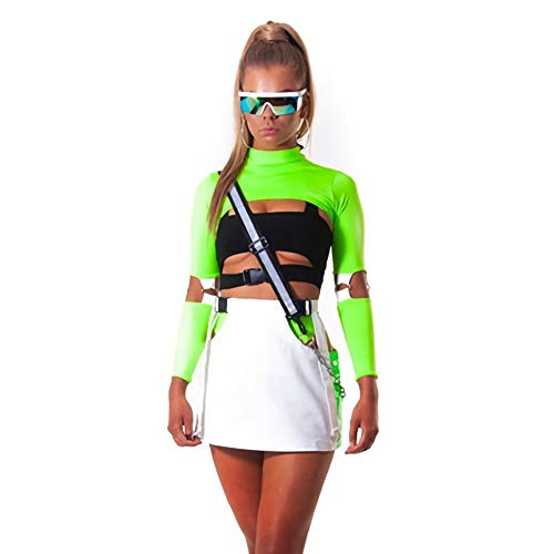 Velius Womens Sexy Mesh Fishnet Hollow Out Long Sleeve Crop Top Hooded Shirt (Large, Neon -