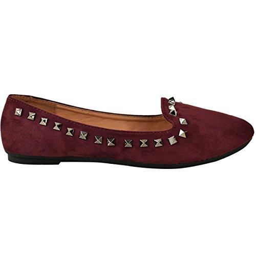 Moda Sete Da Donna Con Borchie Piatte Ballerina Slip On Pump Size Bordeaux / Scamosciato Rosso Scuro