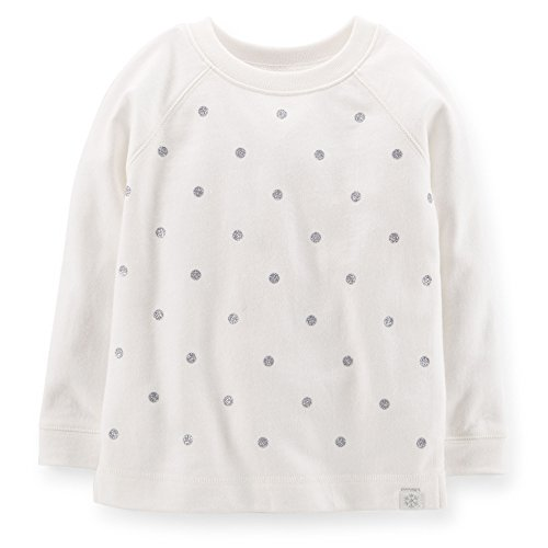 Carter's Little Girls French Terry Sugar Dots Top (3T, White) Carters Long Sleeve Raglan Tee