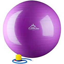 Black Mountain Products 2000-Pound Anti Burst Exercise Stability Ball with Pump, Purple, 75cm