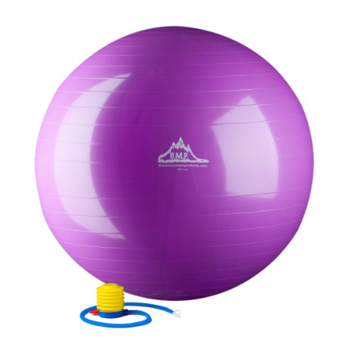 Black Mountain Products 2000-Pound Anti Burst Exercise Stability Ball with Pump, Purple,...