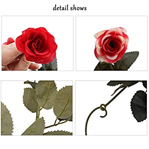 Flojery 2PCS/10.82FT Artificial Rose Flowers Fake Flower Garland Ivy Vine Green Leaves Home Wedding Garden Party Floral Decor 4