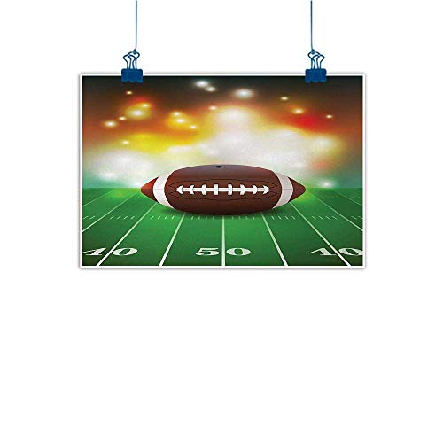 Mangooly Canvas Wall Art Sports,American Football Ball with Warm Properties on Grass Turf Field Team Art Graphic,Brown Green 20